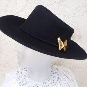 Vintage Black Cowboy Hat 1980s Era